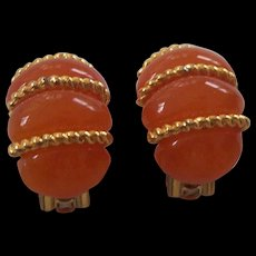 KJL Kenneth Lane Orange Faux Amber Lucite Earrings