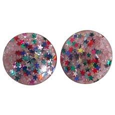 Fun Vintage Large Lucite Stars Earrings