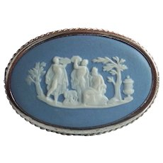 Wedgwood & Sterling Blue Jasperware Cameo Silver Brooch