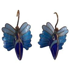 Vintage Enamel Chinese Export Gilt Silver Bird Earrings
