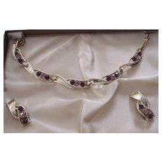 Vintage Purple & Lavender Rhinestone Necklace and Earrings Boxed