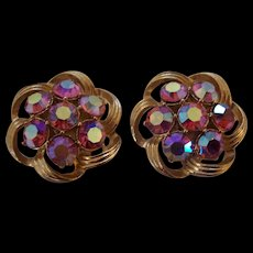 Gorgeous KRAMER Pink Aurora Borealis Earrings AB Clip ons