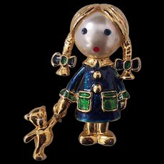 Little Girl Brooch Faux Pearl Face Enamel Gold tone Carolee
