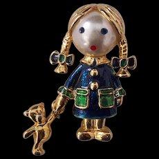 Little Girl Brooch Faux Pearl Face Enamel Gold tone Carolee