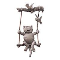 JJ  Laughing Cat on Swing with Birds Pewter J.J. Jonette