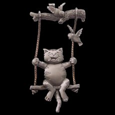 JJ  Laughing Cat on Swing with Birds Pewter J.J. Jonette