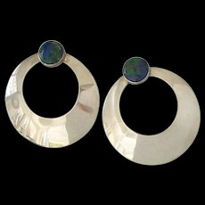 Sterling Silver Azurite Malachite Round Hoop Earrings