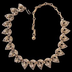 Vintage Coro Faux Pearl & Rhinestone Gold tone Necklace
