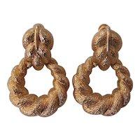 Vintage Napier Leaf & Hoop Door Knocker Style Earrings Gold tone
