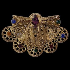 Czech Filigree Winged Insect Jeweled Brooch
