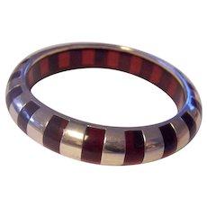 Sterling Silver & Red Lucite Bangle Bracelet