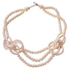 Gerda Lynggaard Signed Bone Necklace Monies Copenhagen