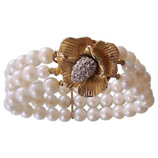3 Strand Faux Pearl Bracelet Floral Rhinestone Clasp Gold tone