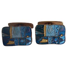 David Andersen Enamel Spring Four Seasons Cufflinks Sterling