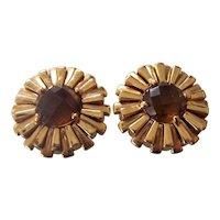 Designer St John Sunburst Earrings Faceted Amber/Topaz Colored Stone Gold tone