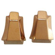 Designer St John Gold tone Pyramidal Earrings