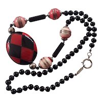 Valentino Italy Red & Black Lucite & Glass Necklace