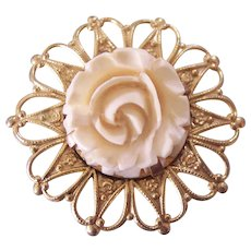 Faux Carved Ivory Rose Flower Gold tone Brooch
