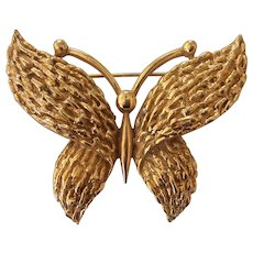 Vintage Trifari Butterfly Brooch Gold tone