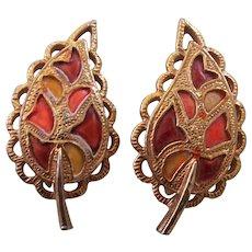 CoroCraft Enamel Leaf Earrings Coro