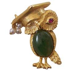 Owl Graduate Brooch Green Cabochon Belly Graduation Cap Gold tone