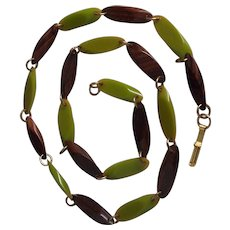Green & Faux Wood Bakelite Necklace
