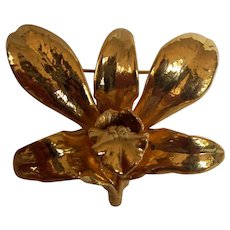 Risis Natural Orchid Brooch Gold Plated