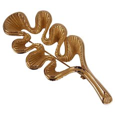 Christian Dior Textured Leaf Brooch Gold tone As Is