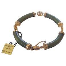 Curved Green Jade Bar GF Link Bracelet Old Store Stock