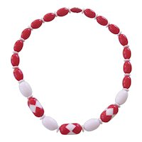 Fun Red & White Lucite Beads Necklace