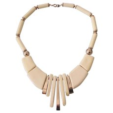 Modernist Japanese Lacquered Statement Necklace Ca 1970's Japan