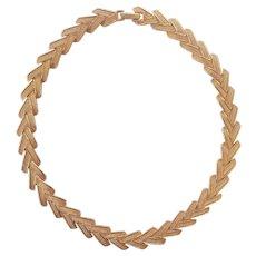 Nina Ricci Vintage Chevron Necklace Gold tone