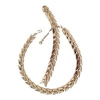 Trifari Gold tone Link Necklace & Bracelet Set