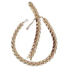 Trifari Gold tone Link Necklace & Bracelet Set