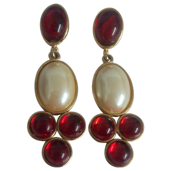 Faux Pearl French Gripoix Style Cabochons Long Earrings Gold tone