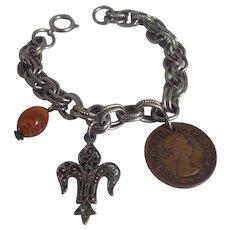 Double Link Charm Bracelet w/ Fleur de Lis & Elizabeth ll South African Coin