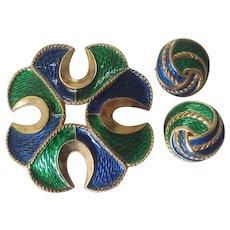 Trifari Peacock Enamel Maltese Cross Brooch w/ Earrings