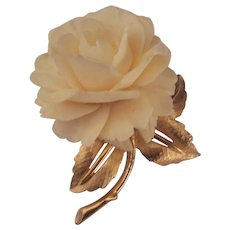 Boucher Faux Ivory Large Carved Rose Brooch Gold tone