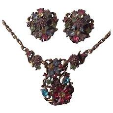 Pastel Rhinestone Necklace & Earrings Set Hollycraft Style