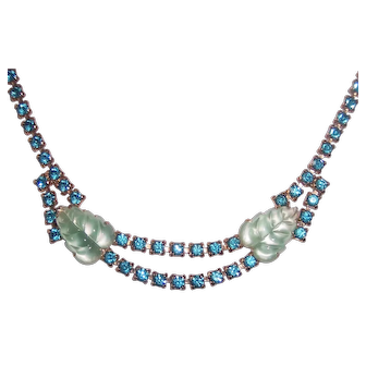 Glass Carved Leaf Fruit Salad & Aqua Rhinestone Necklace