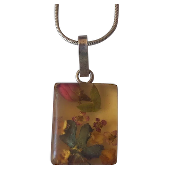 Sterling Silver Dried Flowers Encased Pendant Necklace