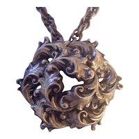BIG Coro Pendant Brooch Necklace Swirly Foliage Silver tone