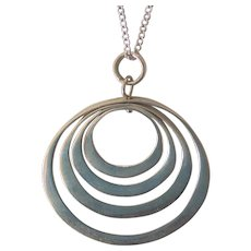 Sterling Silver Free Moving Circle Orbs Pendant Necklace