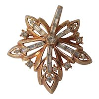 Trifari Pat Pend Maple Leaf Baguette Brooch Gold tone
