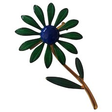 Nice Green and Blue Flower Power Brooch