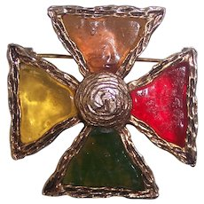 French Gripoix Glass Maltese Cross Gold tone Brooch