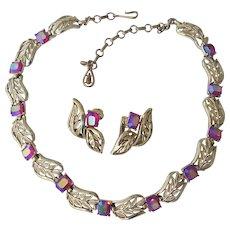 Coro Raspberry AB Rhinestone Necklace & Earrings Gold tone Set