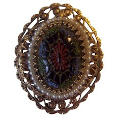 Moroccan Matrix Gold Filigree Faux Pearl Brooch/Pendant