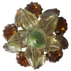 Great Vintage Crystal and Rhinestone Layered Brooch Gold tone