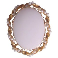 Vintage White Glass and Gold tone Oval Brooch